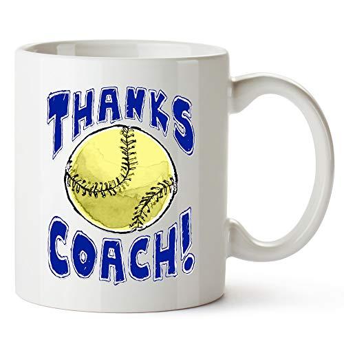 "Play Strong MUG Softball -""Thanks SOFTBALL Coach!"" Sports GIFT MUG Awesome team sports gift - your COACHES will love"