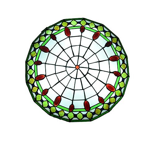 Lámpara de Techo Estilo Tiffany LED Retro, Plafón Techo LED para Dormitorio Sala de Estar Vintage E27 con Pantalla Redonda de Vitrales, Lámpara Colgante para Comedor, Cocina, Pasillo,A,50cm