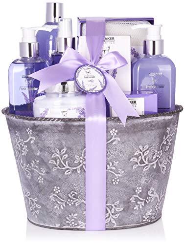 BRUBAKER Set beauty da bagno e doccia con fragranza floreale di lavanda - Set regalo in 9 pezzi in una tinozza decorativa Vintage
