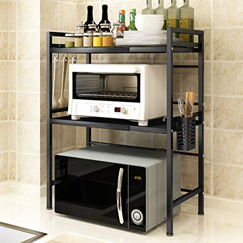 Mocosy Expandable Microwave Oven Rack, 2-Tier Kitchen Counter Regal und Organizer mit 3 Haken, Carbon Steel Microwave Shelf, 55lbs Gewichtskapazität, Mattschwarz (3tier erweiterbar & höhenverstellbar)