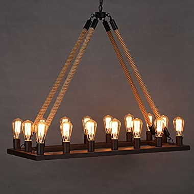 Ladiqi Vintage Rope Chandelier Industrial Barn Pendant Light 16-Lights Rectangle Hanging Ceiling Lighting Island Lights Lamp