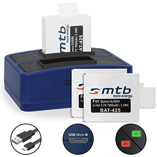 3 Baterías + Cargador Doble (USB) para cámara Deportiva Qumox SJ5000(+), SJ5000X, SJ4000(+) / SJCam M10(+), X1000. - Contiene Cable Micro USB