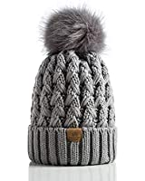PAGE ONE Womens Winter Ribbed Beanie Crossed Cap Chunky Cable Knit Pompom Soft Warm Hat Grey