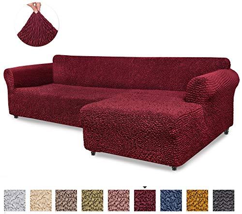 Menotti Ecksofa-Überzug in L-Form, für Sofa und Sessel, elastischer Stoff, Leinen, bordeaux, L-Shape Right