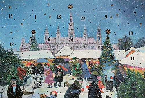 Adventskalender-Karte Wien Rathaus Nostalgie Weihnachten Grußkarten Goldprägung Kunstkarte Weihnachtsgruß Weihnachtsmarkt