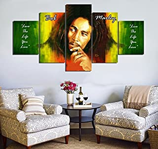 PEACOCK JEWELS [Large] Premium Quality Canvas Printed Wall Art Poster 5 Pieces / 5 Pannel Wall Decor Bob Marley Painting, Home Decor Pictures - Stretched