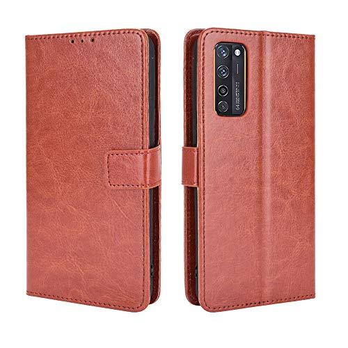 ZTE Axon 20 4G/5G Hülle [Brieftasche] [Klammerfunktion] [Kartenfächer] [Magnetic Flip Cover] Kompatibel mit ZTE Axon 20 4G/5G Smartphone(Braun)