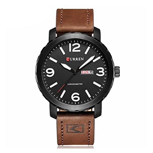 CURREN Uhren Herrenuhren Top-Marke Quarz Leder Band Armbanduhr