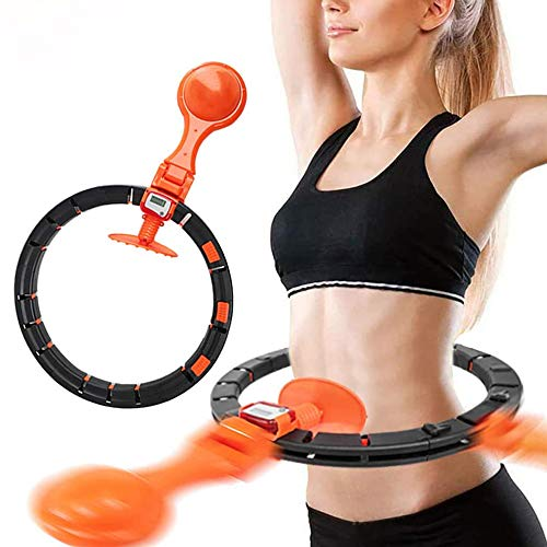 Smart Hoola Hoop with Counter for Adults & Kids Beginners Exercising 2 in 1 Abdomen Fitness Weight Loss Massage 360º Auto-Spinning, Non-Fall Hoola Hoops