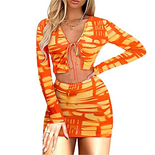 Conjunto de ropa de dos piezas para mujer, estampado anudado con estampado de manga larga y falda, naranja/azul/rosa coral