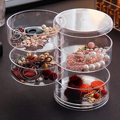 Phoetya - Caja de almacenamiento para joyas, 360 ° giratorios para pendientes, collar, caja de almacenamiento transparente, caja de almacenamiento de joyas, estante de almacenamiento (4 capas)
