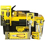 STANLEY HOMETL-KIT1 Hand Tools Kit in 13-Inches Tool Box (15-Pieces) With BLACK+DECKER KR554RE 550W 13mm Variable Speed Reversible Hammer Drill Machine