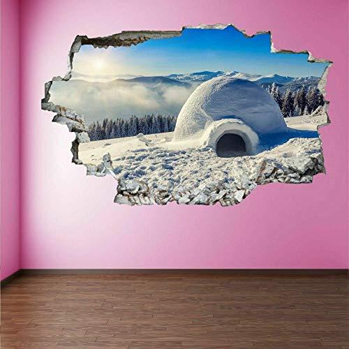 Tatuaje de pared en 3D agujero de la pared Sticker Pegatina Adhesivo Calcomanía Decoración para dormitorio o la sala de estar,Refugio Igloo Snow House 60x90cm