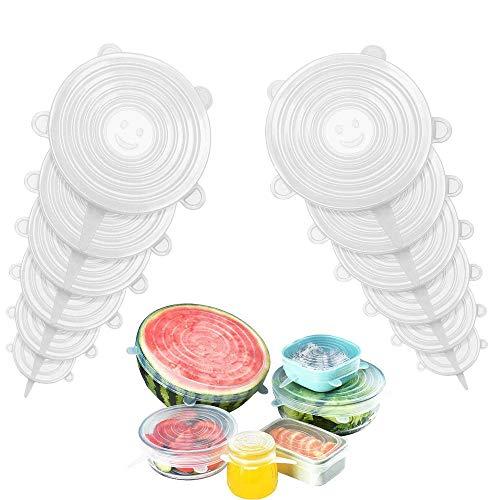 LIULIUKEJI Dehnbare Silikondeckel, BPA Free Wiederverwendbar Silikon Abdeckung, Universal Silikon-Frischhalte-Deckel für SchüSseln, TöPfe, GläSer. (Transparent, 6)
