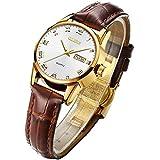 OLEVS Watch Women Wristwatch Ladies Female Brown Leather Business Dress Waterproof Fashion Casual Simple Quartz Analog Classic Date Calendar Wrist Watch
