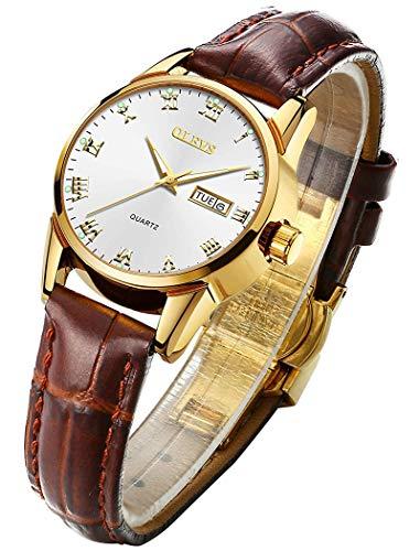 Relógio de pulso feminino OLEVS feminino marrom couro para negócios, à prova d'água, casual, simples, quartzo, clássico, data, calendário, mostrador pequeno, relógio de pulso, Pulseira marrom + mostrador preto, small dial watches for women
