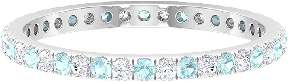 1/2 CT Sky Blue Topaz and Diamond Full Eternity Stackable Band Ring,14K White Gold,Diamond,Size:US 10.50