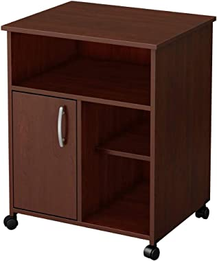 Mobile File Cabinet Storage Shelf with Door & Wheels, Wooden Under Desk Printer Stand Cart Cabinet with 4 Open Cubes for Home