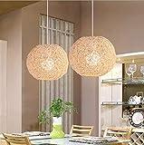 LAKIQ Farmhouse Globe Single Pendant Light Creative Rattan Kitchen Island Lighting Modern Hanging Ceiling Pendant Lights for Dining Room Living Room Restaurant Stores(Beige,16'')
