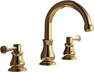 AUXO Bathroom Vanity Sink Faucets 3 Holes Double Handle Widespread Deck Mounted Basin Faucet Mixer Tap, Gold
