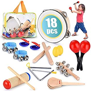 Toddler Educational & Musical Percussion for Kids & Children Instruments Set 18 Pcs – With Tambourine, Maracas, Castanets ...