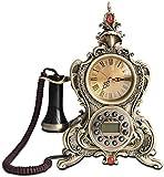 Dirgee Teléfono de artesanía Europeo Retro, Textil casero Antiguo reparado (Color: Pearl White) (Color : Bronze Color)