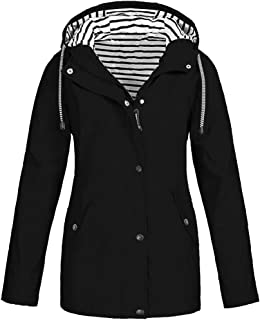 Loosebee◕‿◕ Rain Jackets for Women Plus Size Zipper Raincoats Hoodie Solid Long Sleeve Waterproof Windproof Outdoor Coats