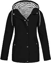 FRENDLY✲✲ Women Solid Rain Jacket Outdoor Plus Size Waterproof Hooded Raincoat Windbreaker Lightweight Trench Coats