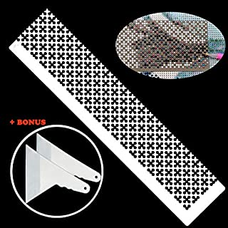 5D DIY Diamond Painting Tool Ruler + 2 Diamond Painting Fix Tools, Stainless Steel Ruler DIY Drawing Tool with 699 Blank Grids for Diamond Painting Round Full Drill & Partial Drill