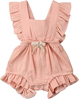 Toddler Baby Girls Romper Newborn Infant Bowknot Flutter Sleeve Ruffles Backcross Bodysuit Outfits