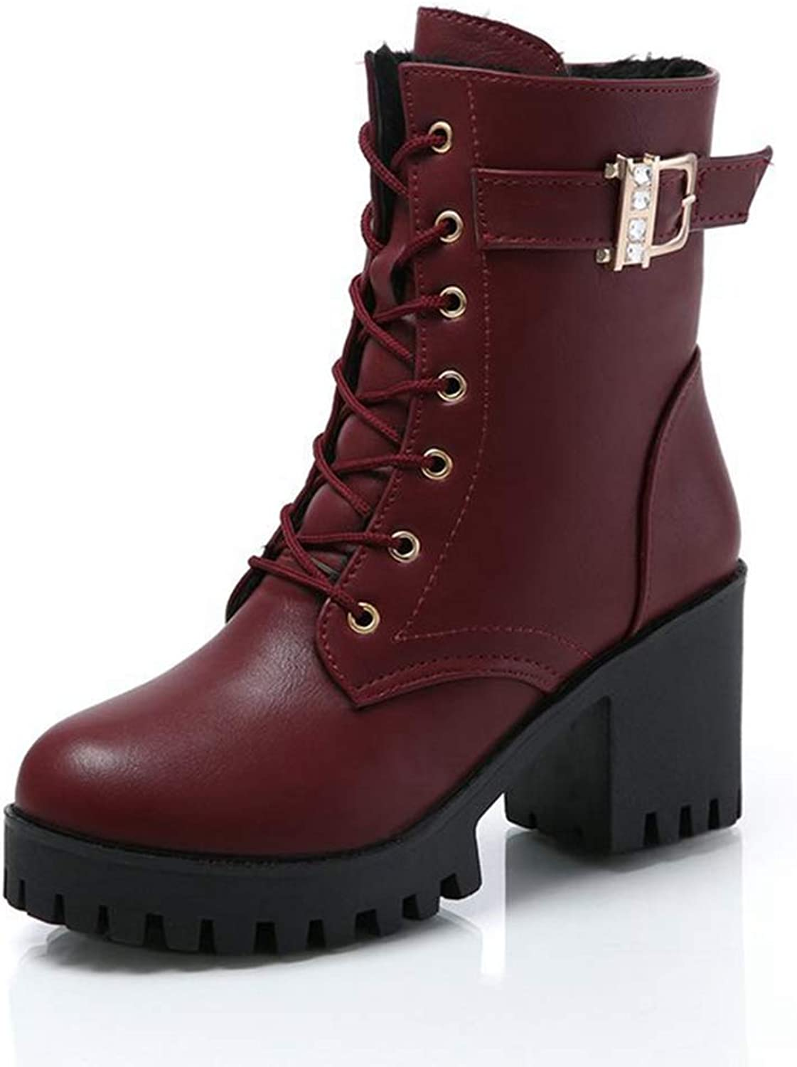 York Zhu Women Leisure Ankle Boots,Lace-Up High Thick Short Boots High-Heel Bootie