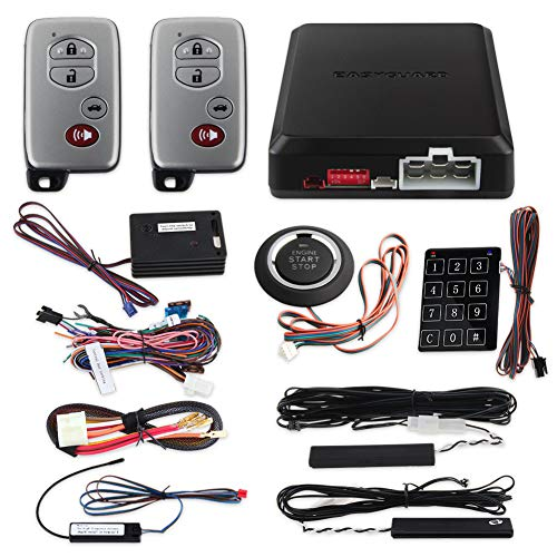 EASYGUARD ec002-T-NS Rolling Code PKE car Alarm System with Passive keyless Entry Remote Start Push Button Start Stop Touch Password Entry Shock Sensor Warning auto Locking Unlocking car Doors