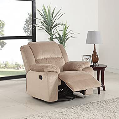 Oversize Brush Microfiber Rocker and Swivel Recliner Living Room Chair (Beige)