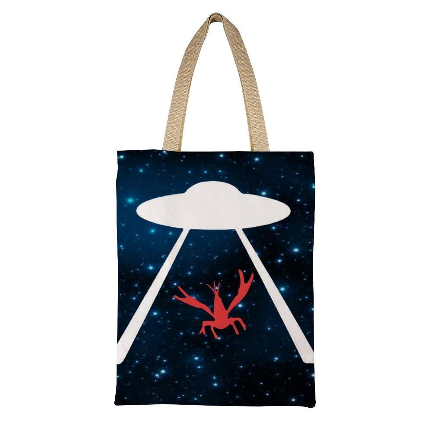 織る幽霊変換するFunny UFO Crawfish レディース キャンバストートバッグ ハンドバッグキャンバスショルダーバッグ通勤通学 大容量 軽量
