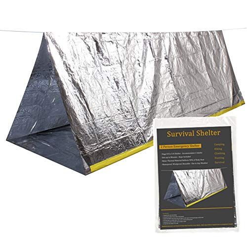 Emergency Survival Shelter Tent, 59 X 98.4inch Waterproof 2-Person Mylar Thermal Shelter for Hiking Camping (Silver)