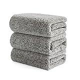 MYBOON 3 Piezas de paño de Cocina de Microfibra de carbón de bambú, paño de Cocina de Microfibra, Absorbente Grueso, Antiadherente, Trapos de Aceite, paños de Limpieza para Uso doméstico, Gris