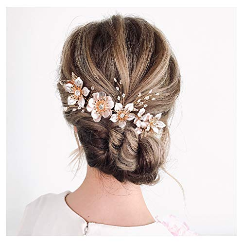 SWEETV Flower Wedding Headpiece Handmade Bridal Hair Pieces with Crystal Gold Headband Hair Accessories