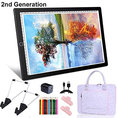 HomeCraftology A4 Diamond Painting Light Pad, 2nd-Generation Ultra-Thin Tracing Drawing Board, USB Powered Adjustable Brightness Light Board with Arts Crafts Accessories (Upgrade)