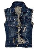 Zicac Men's Top Design Denim Vest Waistcoat with Broken Holes (M/Asia Tag 3XL, Blue)