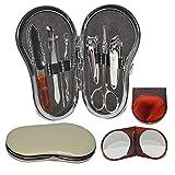 Set de manicura y pedicura + espejo de mano. Kit de belleza profesional unisex de 8 piezas.