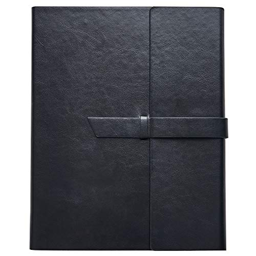 Vegan Leather Padfolio Portfolio Folder – Slim Portfolio Notebook & Business Card Holder for 8.5x11 In. Note Pads, Legal Pads – Refillable Business Organizer by Gallaway Leather, 12.25x10.5 In (Black)