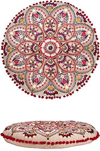 Orientalische Kissen Bodenkissen Bunt aus Baumwolle ø 55cm inklusive Füllung | Marokkanisches Sitzkissen Sitzpouf Azra Rund | Orientalisches rundes Yogakissen Meditationskissen bestickt