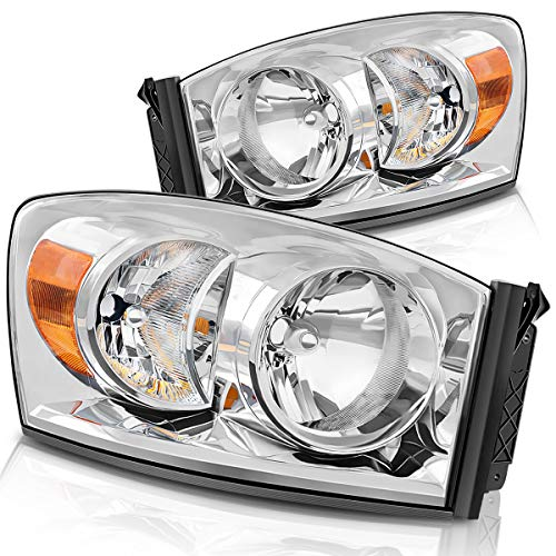 DWVO Headlight Assembly Compatible with 06-08 Dodge Ram 1500, 06-09 Dodge Ram 2500/3500 Replacement Headlamp Driving Light Chromed...