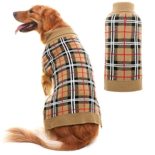 PUPTECK Classic Plaid Style Dog Sweater - Puppy Festive Winter Cloth