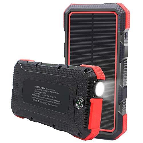 RESCIEN Solar PowerBank 26800mAh, Solarladegerät mit 3 Output (2USB/Type C) Externer Akku 3 Input(USB/Type C/Solar Panel) Powerbank mit LED-Licht IP66 für Smartphones, Handys, Outdoor Aktivitäten