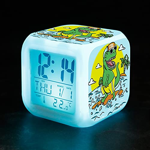 FANKUTOYS Glowing Cube Clock Dinosaur Digital LED Wake Up Clock with 4 Sided Dinosaur Pattern, Kids Boys Night Light Bedside Alarm Clock with 7 Colors and 8 Alarm Sounds for Dinosaur Lovers Girls