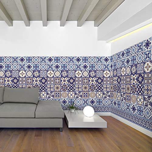 Walplus Entfernbarer Selbstklebend Wandkunst Aufkleber Vinyl Wohndeko DIY Wohnzimmer Schlafzimmer Küche Dekor Tapete Königlich Victoria Blau Fliesen Wand Sticker Tapete 24 Stk. X 20cm X 20cm