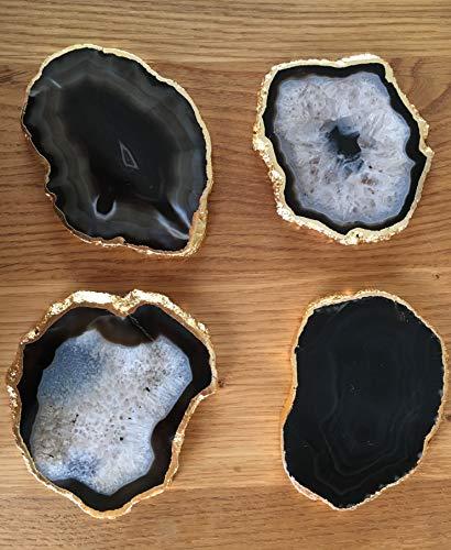 Sottobicchieri in vera agata, 80-110 mm, colore nero, con bordo dorato (4 pezzi)