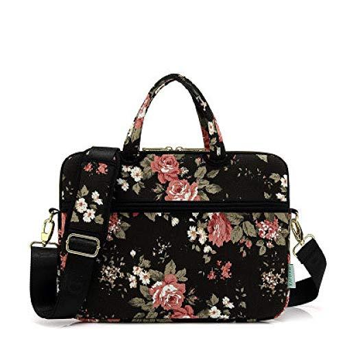 Canvas Laptop Shoulder Messenger Bag White Rose Waterproof Patten Case Sleeve for 12/13/14/15 Inch Laptop Bag and Tablet Bag-Ivory_Set_15.6-inch