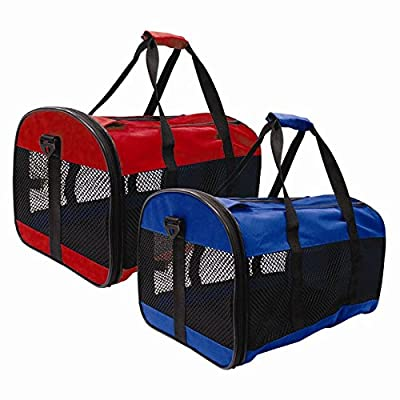 ITP Collapsible Pet Carrier Mesh Cat Dog Carrying Handle Red or Blue by ITP